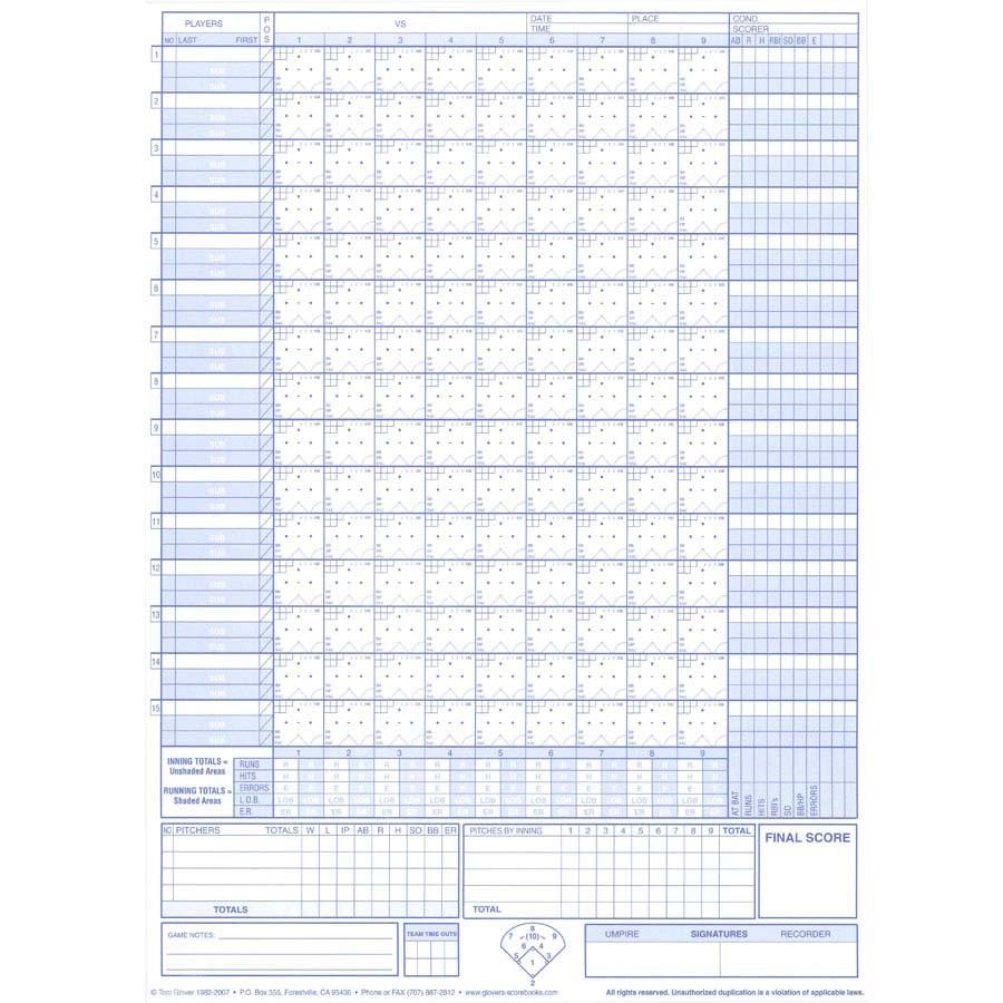 Glover 39 s baseball softball short form scorebook for Slo scoring template