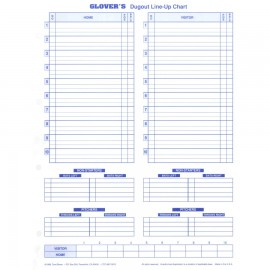 Dugout Line Up Chart Insert (30 charts)