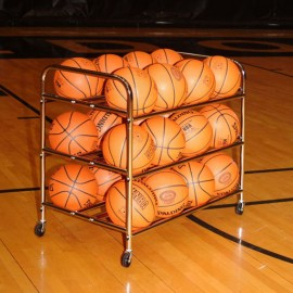3-Tier Double Wide Body Basketball Cart (24 Ball Capacity)