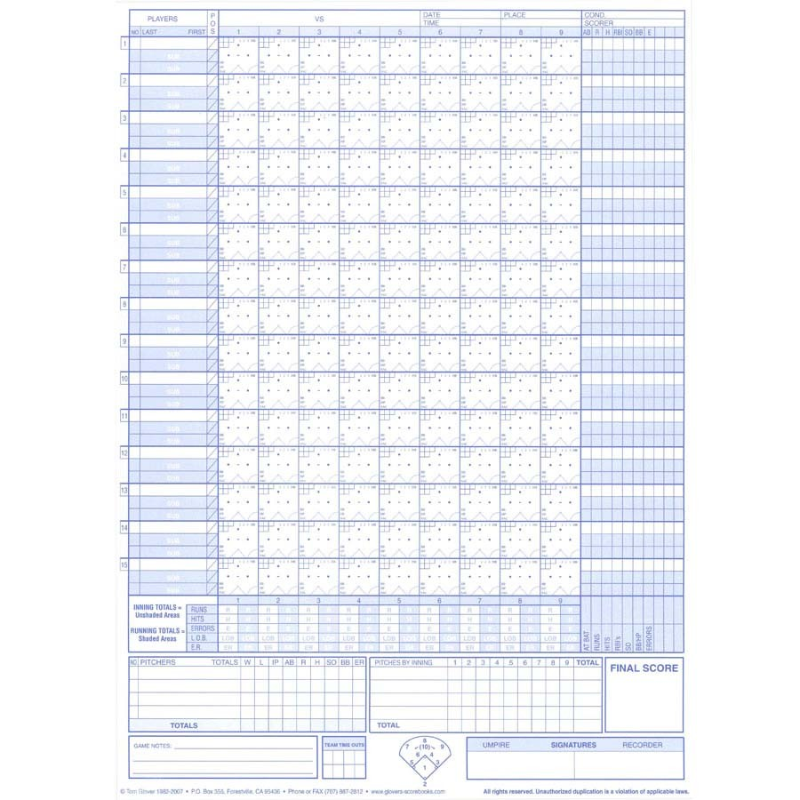 picture relating to Printable Softball Scorebook known as Glovers Baseball/Softball Shorter Type Scorebook Sporting activities