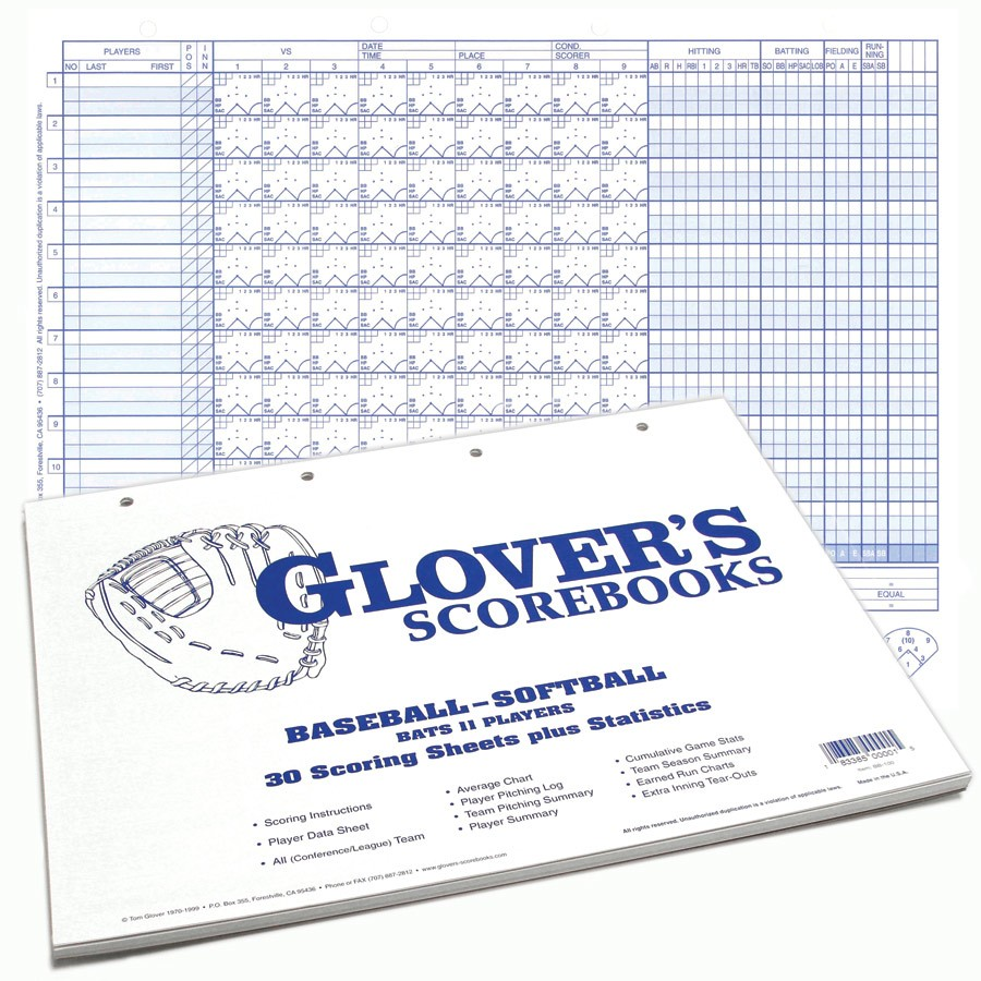 glover s 30 game score sheets with stats sports advantage