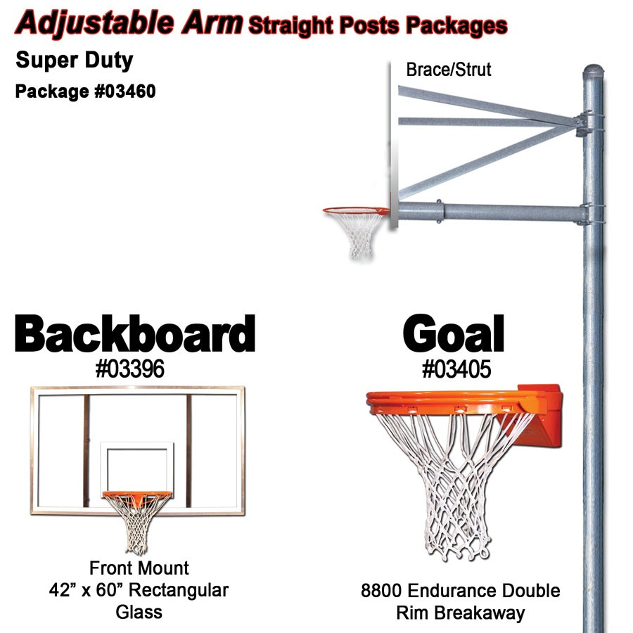 Gared Super Duty Adjustable Straight Post Package Sports Advantage Basketball Hoop Diagram