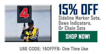 15% Off Sideline Marker Sets, Down Indicators, Or Chain Sets